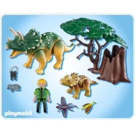 Playmobil Explorer with Triceratops and Baby